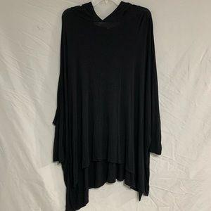 Oversized Black Tunic With Hood